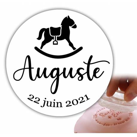 Personalized stamp 6cm - rocking horse