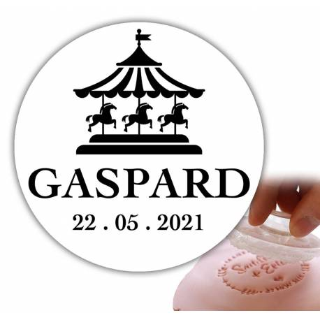 Personalized stamp 6cm - carousel