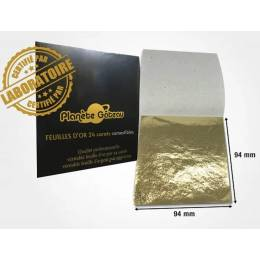 Feuilles d'or 24 carats alimentaires 9,4 cm (x5)