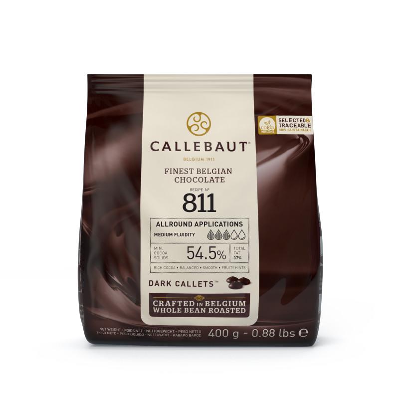 Cobertura de chocolate oscuro 811 Callebaut 54.5% Guijarros 400g