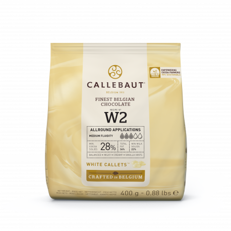 Chocolate blanco Callebaut W2 28% en galletas 400g