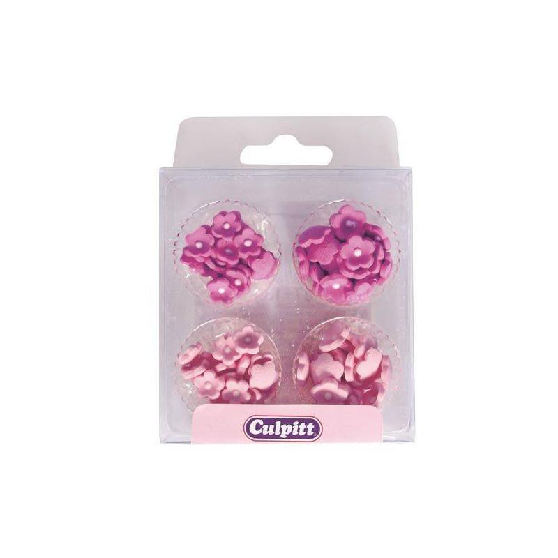 Mini fleurs en sucre rose x100