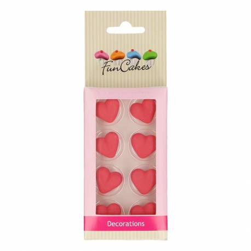 Cœurs rouges en sucre x8