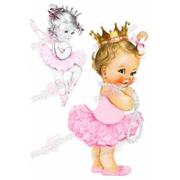 Print food baby girl vintage Crown and dancer