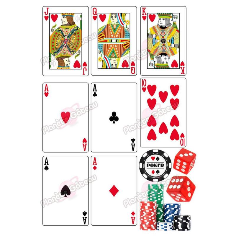 Impression alimentaire Jeu de Cartes CASINO et Poker