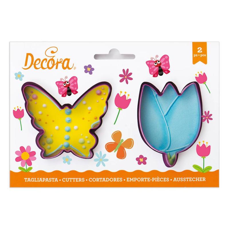 Cortador de galletas de mariposa y tulipán x2