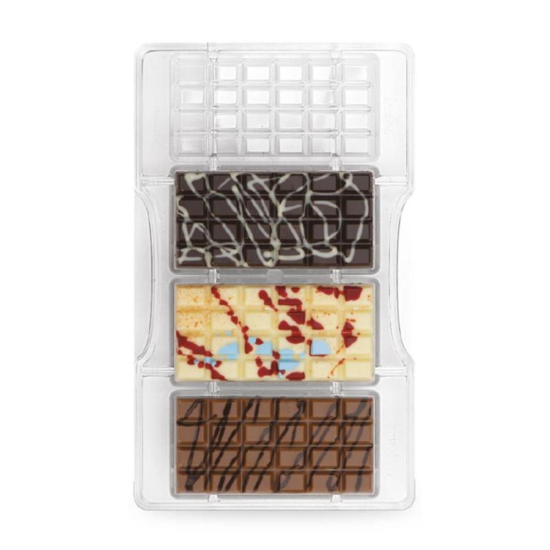 Moule à chocolat tablettes en polycarbonates x4