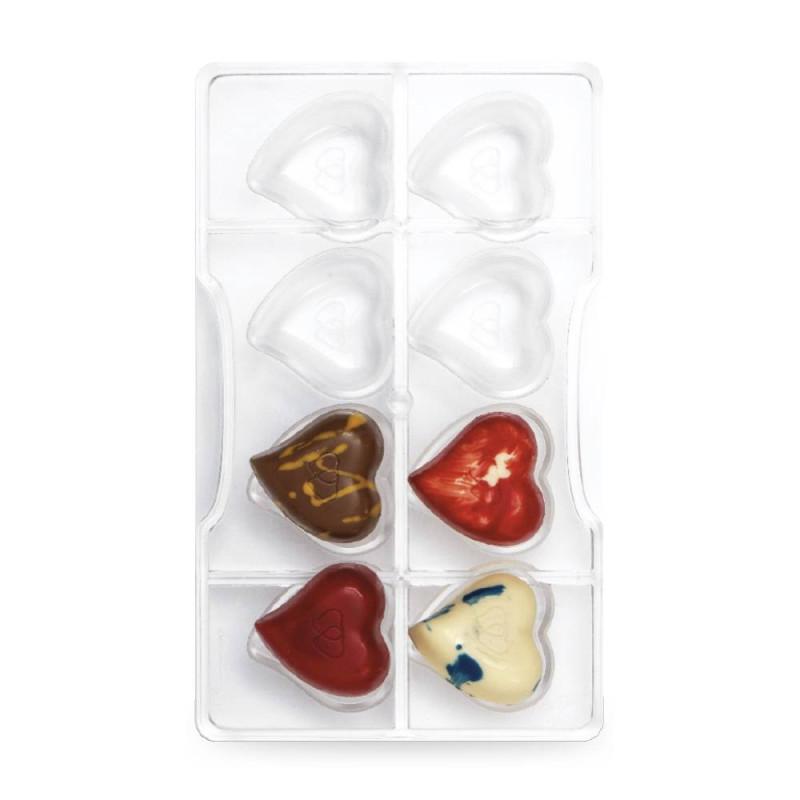 Moule chocolat cœurs en polycarbonate x 8