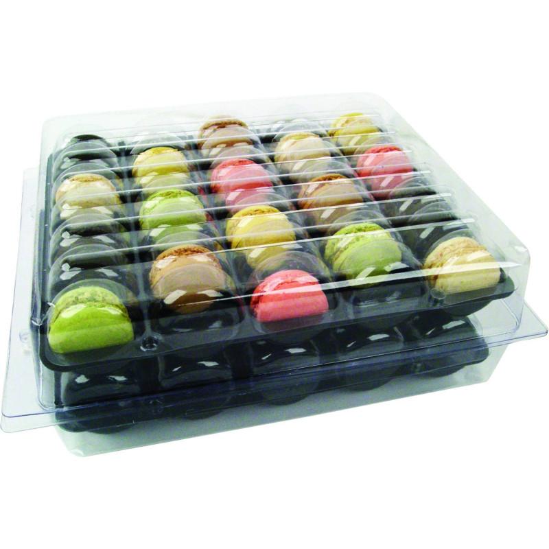 Boite 70 macarons en plastique avec inserts