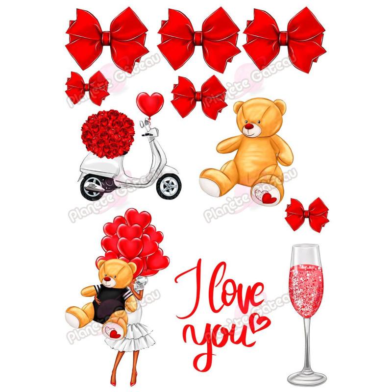 Kit décoration alimentaire Amour et Ours LOVE rouge