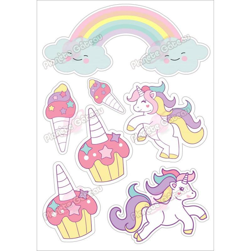 Food print unicorn rainbow