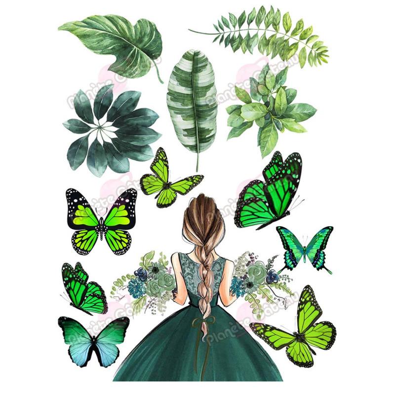 Kit décoration alimentaire Femme et Nature Vertes