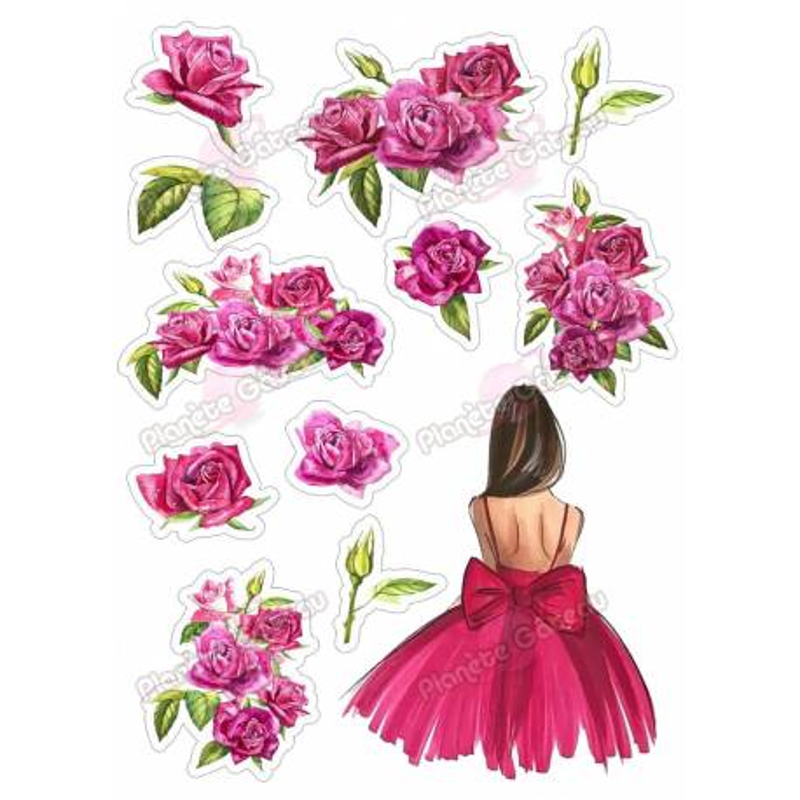 Kit décoration alimentaire Femme et Roses rouge