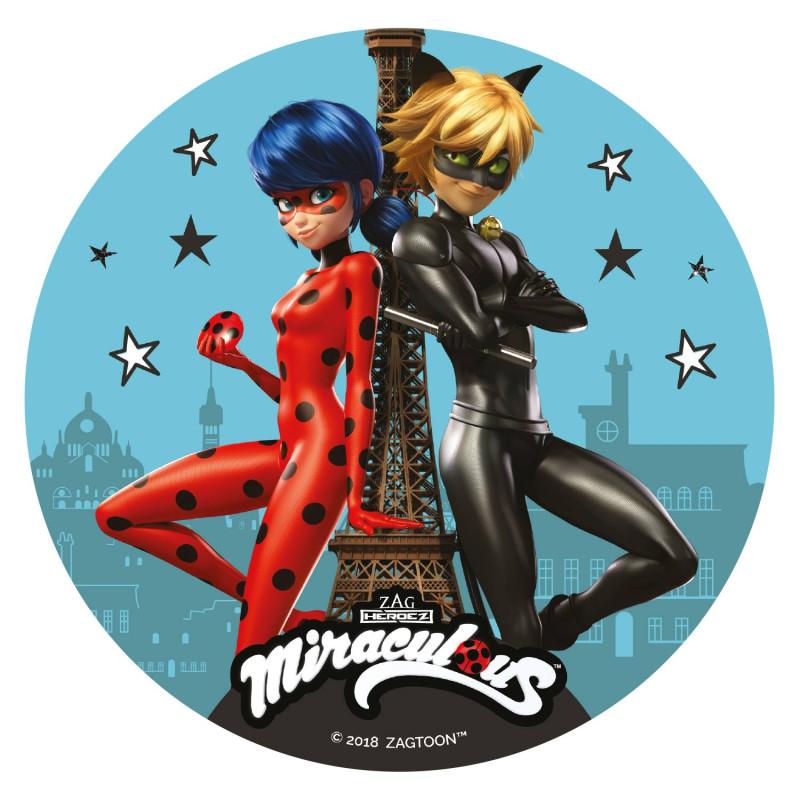 Disque comestible Miraculous Tour Eiffel 16 cm