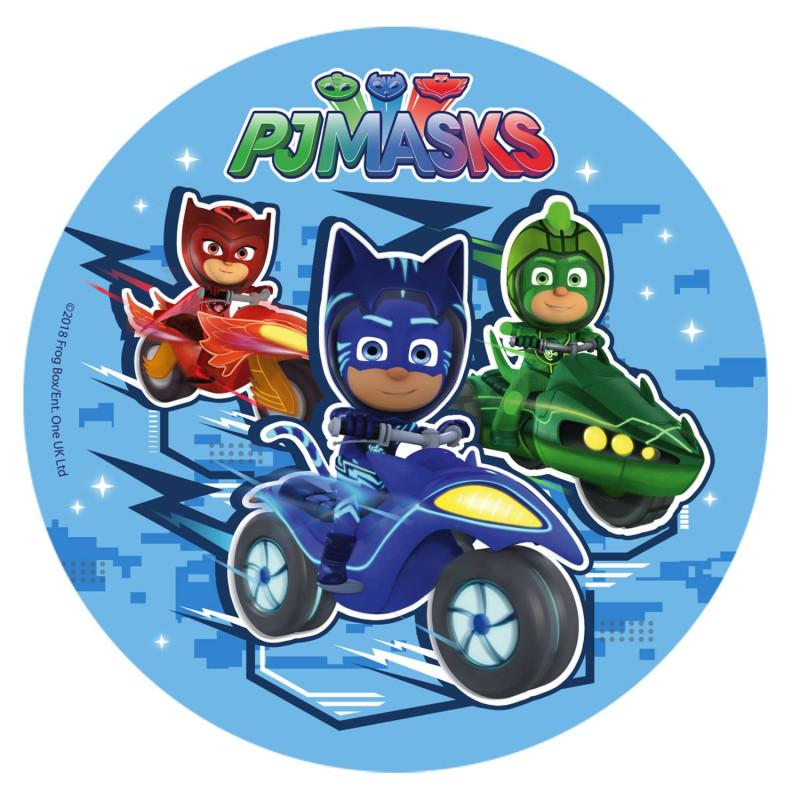 Edible disc Pyjamasque in their cars 16 cm