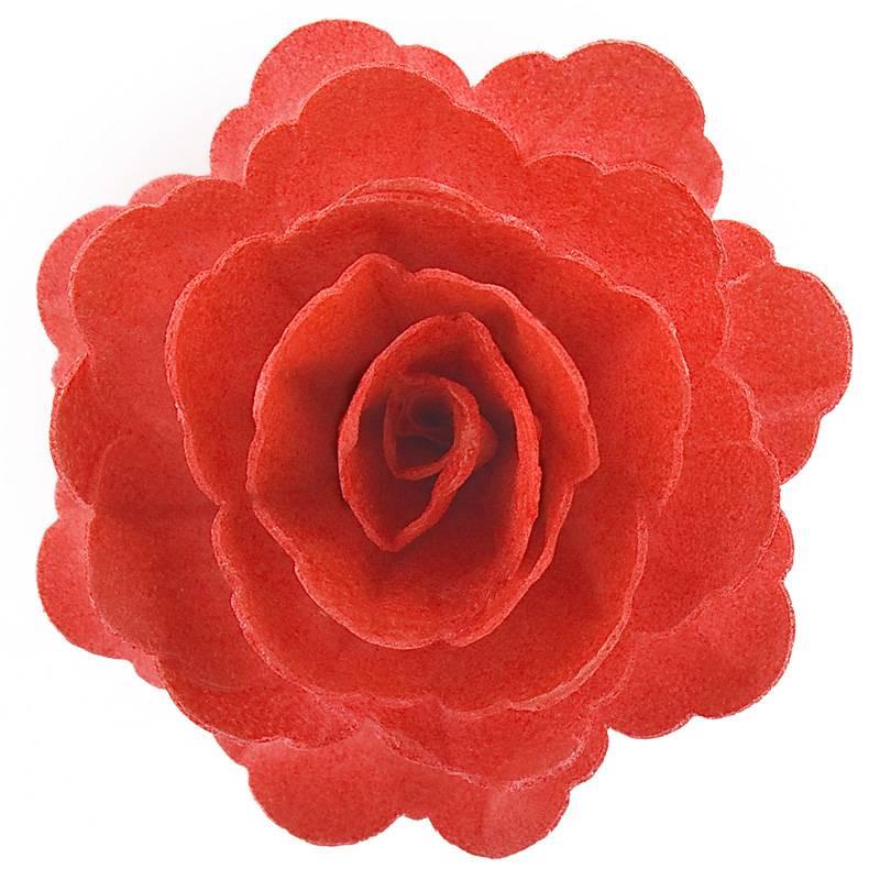Fleur rose rouge en azyme 12,5 cm