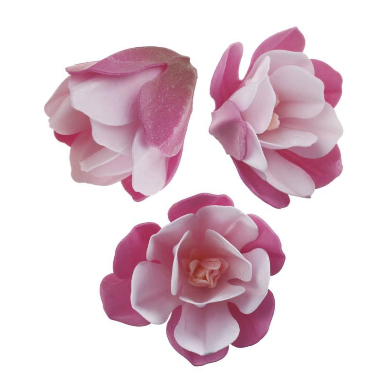 Fleurs Magnolias roses en azyme 6,5 cm x6