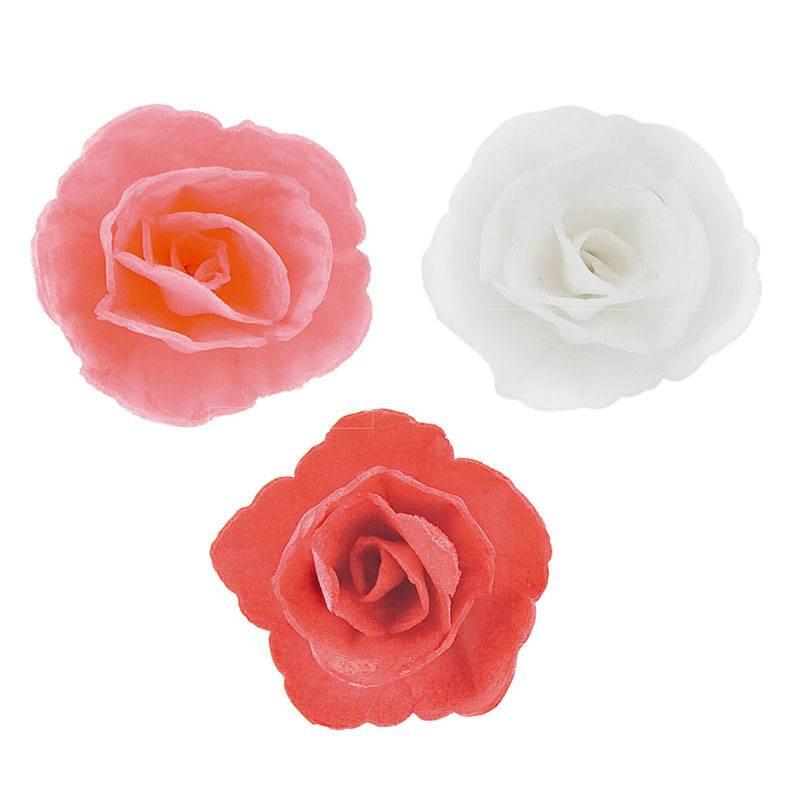 Fleurs Roses blanches, rose et rouge en azyme 4,5 cm x36