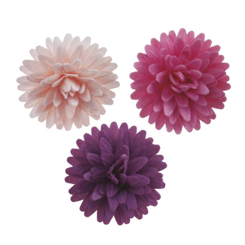 Flores de pompón rosa y morado en zyme sin plomo 4,5 cm x12