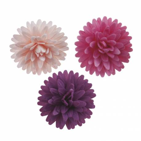 Pink and purple pompom flowers in unleaded zyme 4.5 cm x12