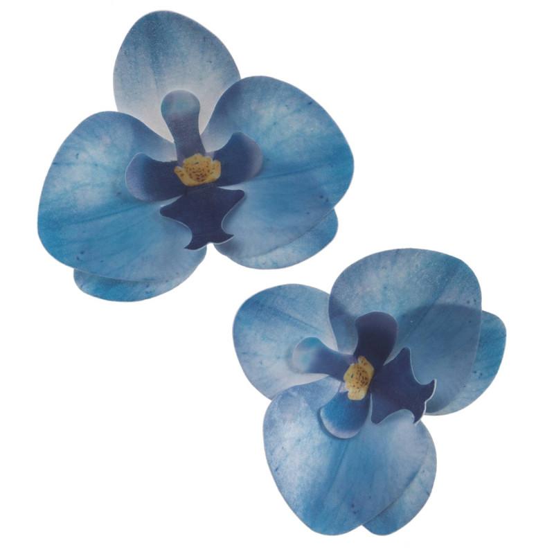 Fleurs orchidées bleues en azyme 4.5 cm x10