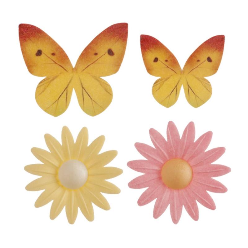 Fleurs marguerites et papillons en azyme x8