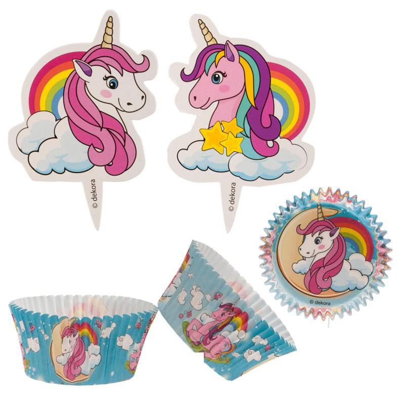 Caissettes à cupcakes et toppers licorne x24