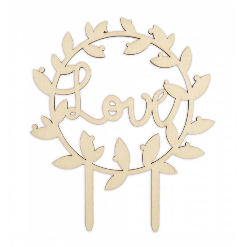 Topper de madera amorosa 12,5 cm