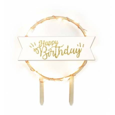 Topper led happy birthday 12 cm