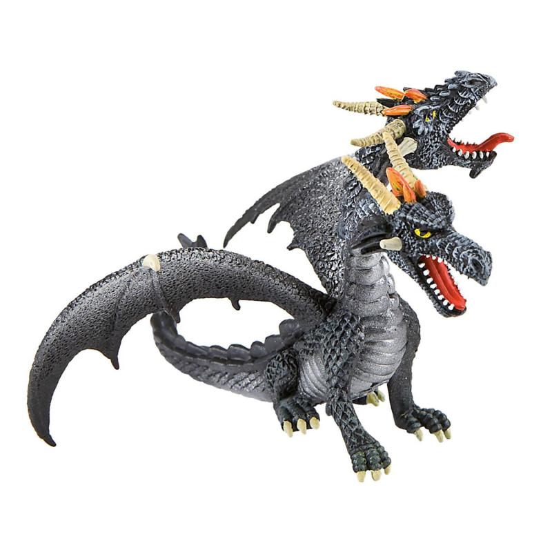 Figurine dragon à deux têtes noir - 9 cm