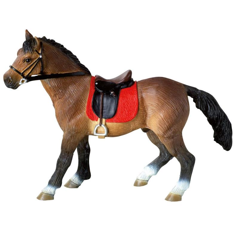 Brown stallion horse figurine - 11.5 cm