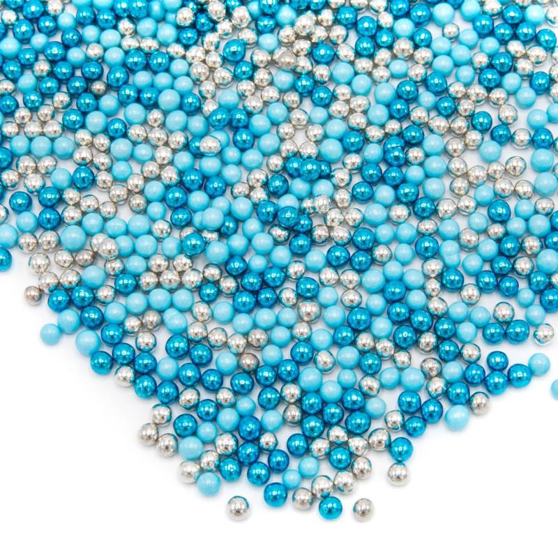 Happy Sprinkles Blue Mix Perlas de azúcar de chocolate metálicas - 80 g