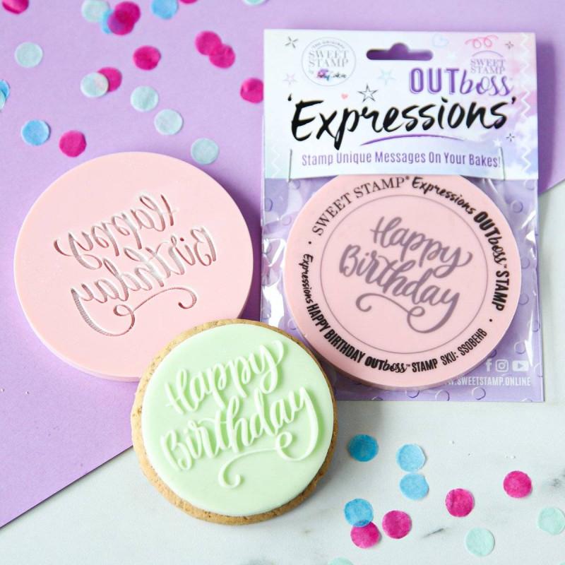 Feliz Cumpleaños Sweet Sweet Stamp galletas en relieve