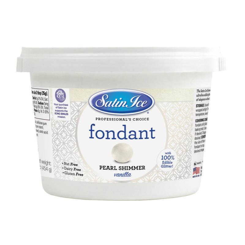 Pâte à sucre blanc nacré Shimmer Satin Ice - 450g