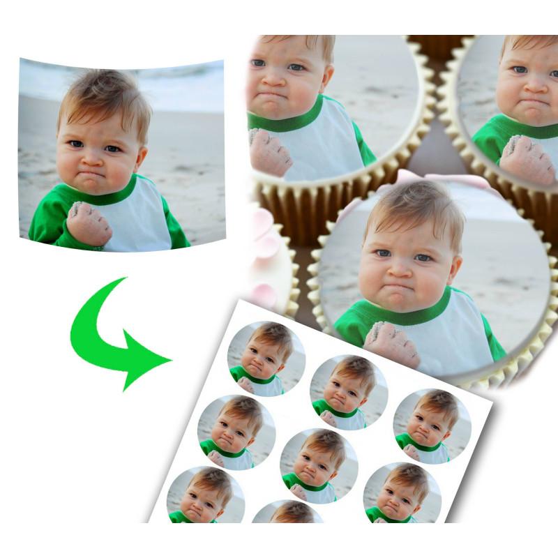 12 Personalized Cupcake Food Disks