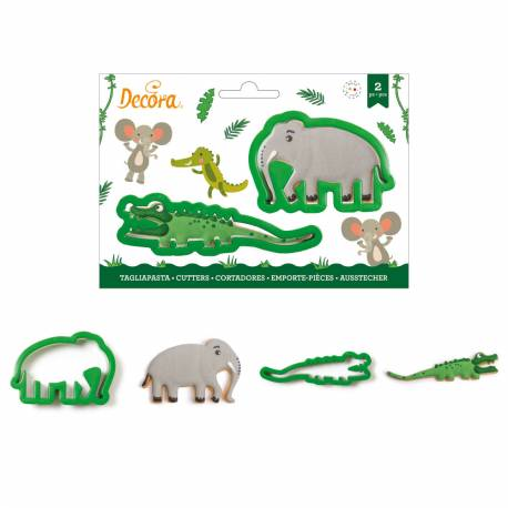 Crocodile and elephant cookie cutters - 2 models