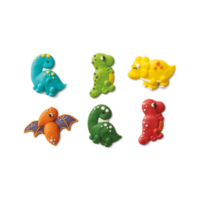 Decoraciones de azúcar de dinosaurios x6