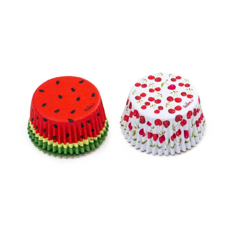 Estuches para cupcakes de sandía y cereza x 36