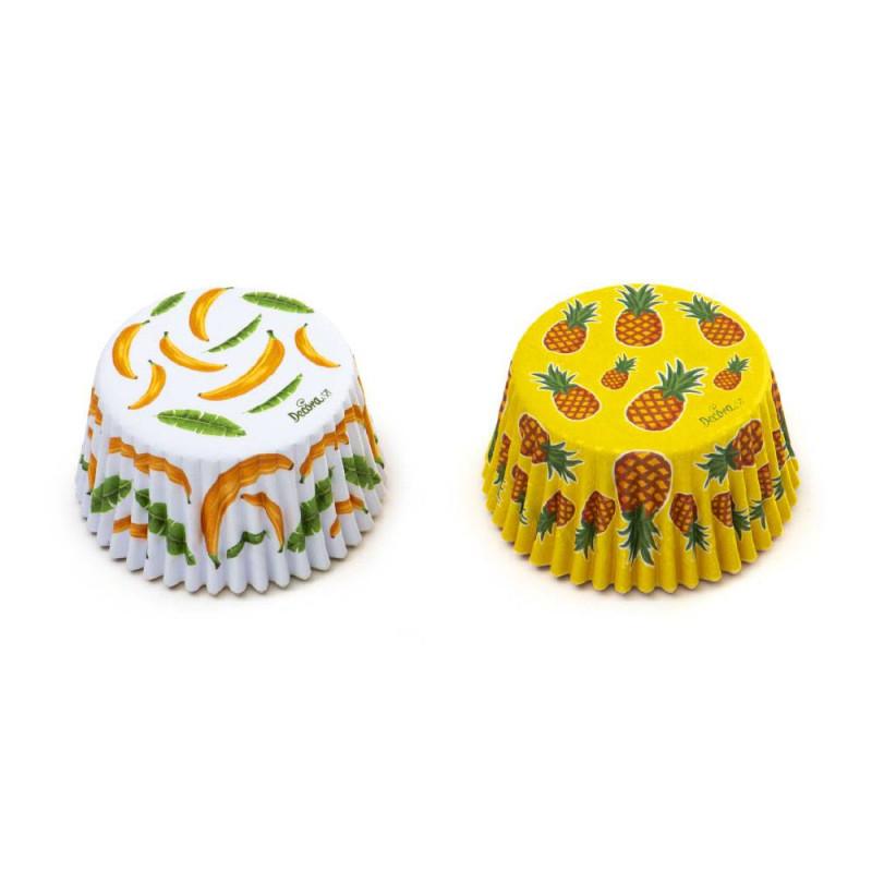 Estuches para cupcakes de piña y plátano x 36