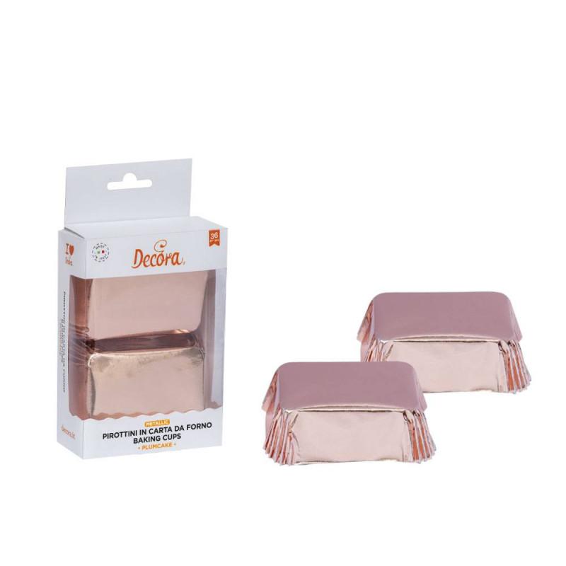 Caissettes à mini cakes or rose x 20