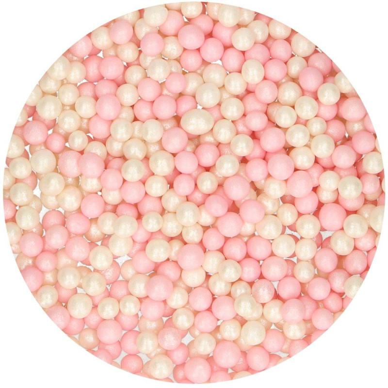 Pink and white sugar beads 60 g