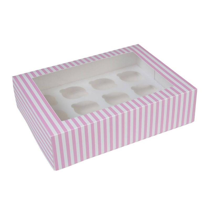Cajas para magdalenas de rayas blancas y rosas 12 cavidades - x2