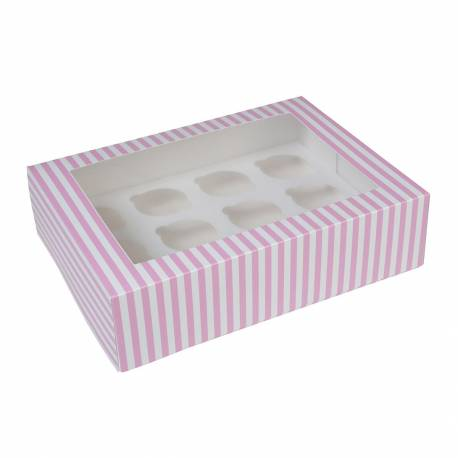 White and pink striped cupcake boxes 12 cavities - x2
