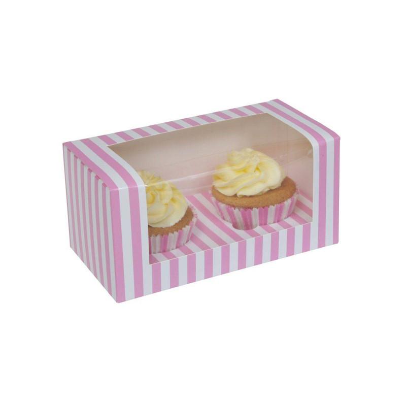 Boites à cupcakes rayée blanche et rose 2 cavités - x3