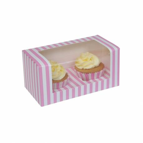 White and pink striped cupcake boxes 2 cavities - x3