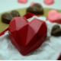 2 diamond chocolate hearts mould kit 9.5cm