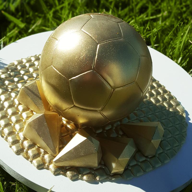 Kit moules ballon de football 3D creux en chocolat 18cm