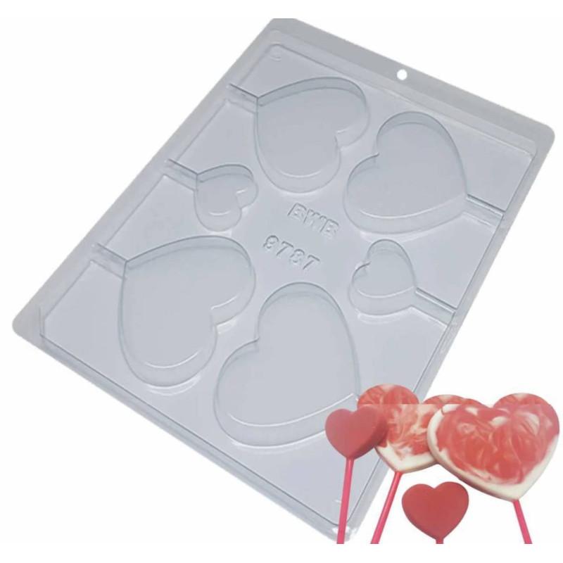 Molde de chocolate corazones pequeños y grandes - 6 cavidades