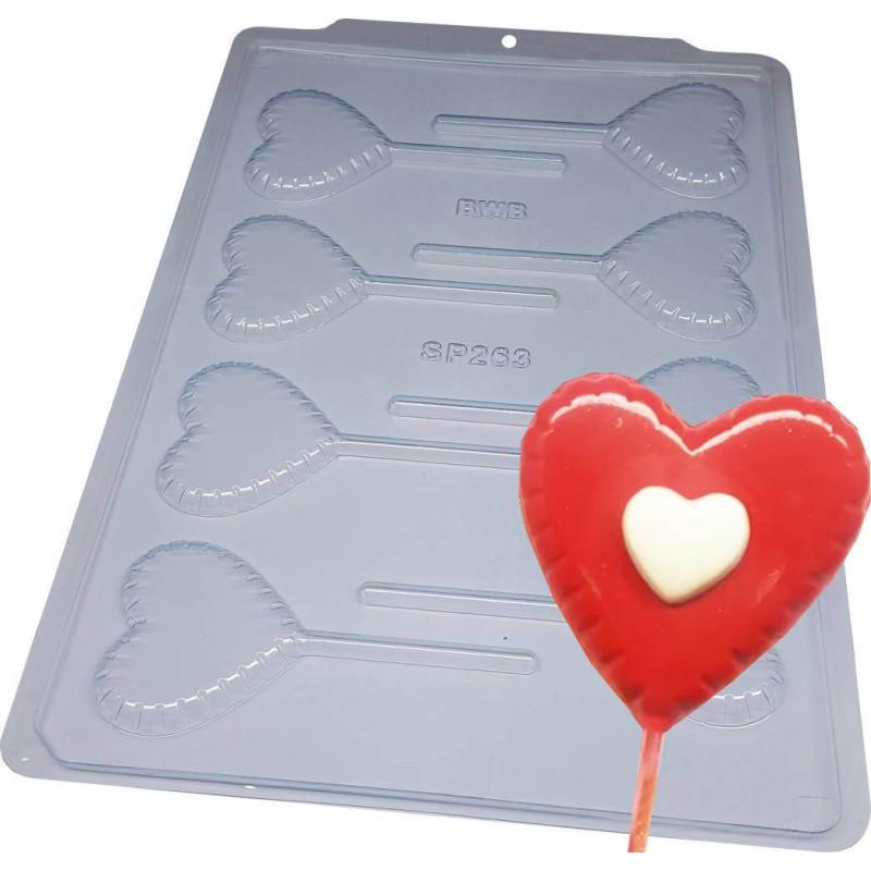 Chocolate mold lollipop heart x8