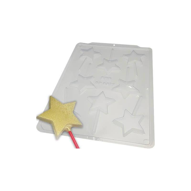 Molde de chocolate estrellas de piruleta - 8 cavidades